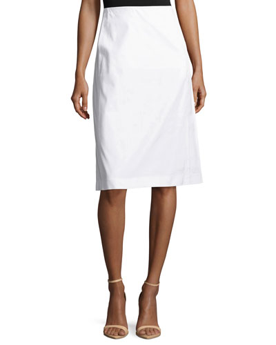 Coralyn Stretch-Canvas A-Line Skirt, White