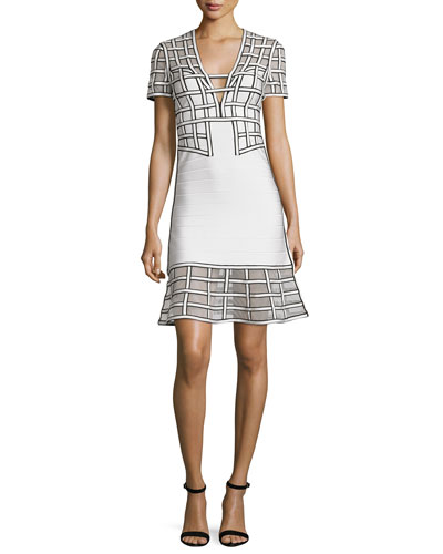 Short-Sleeve Graphic Flounce Dress, White