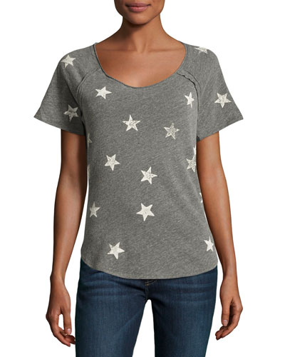 Star-Print Raglan T-Shirt, Gray