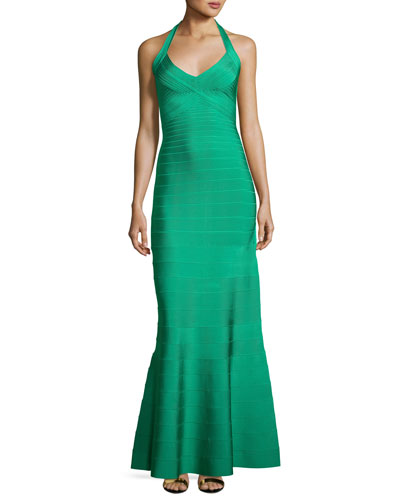 Halter Bandage Mermaid Gown, Green