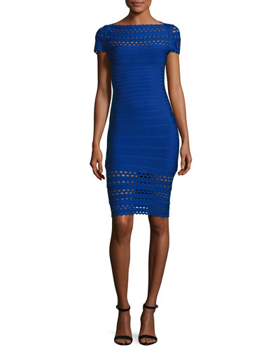 Bateau-Neck Perforated Bandage Dress, Blue
