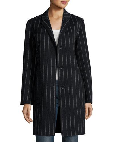 Sidney Chalk-Stripe Single-Breasted Coat, Black/White
