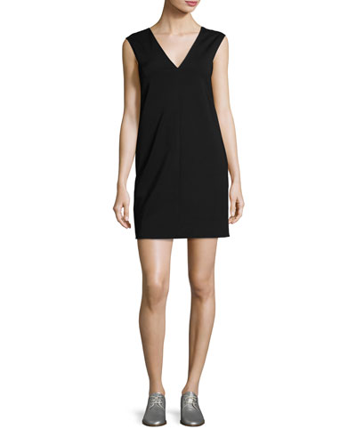 Alma V-Neck Shift Dress, Black