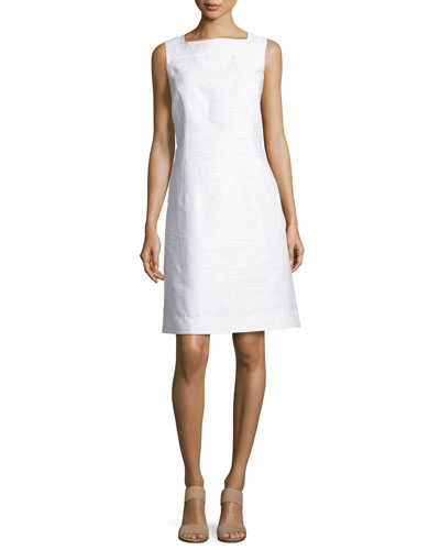 Jojo Sleeveless Fragmented Jacquard Dress, White