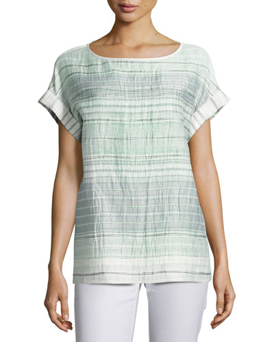 Lori Short-Sleeve Palmetto Crinkle-Stripe Blouse, Multi Pattern