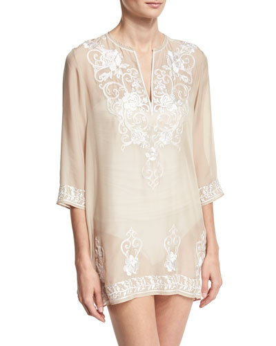Gigi Embroidered Silk Chiffon Tunic Coverup, Nude