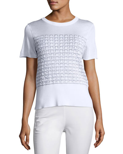 Gwen Textured Knit Tee, White