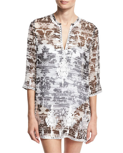 Embroidered & Printed Silk Chiffon Tunic Coverup, Black/White