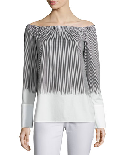 Striped Off-the-Shoulder Blouse, Multi