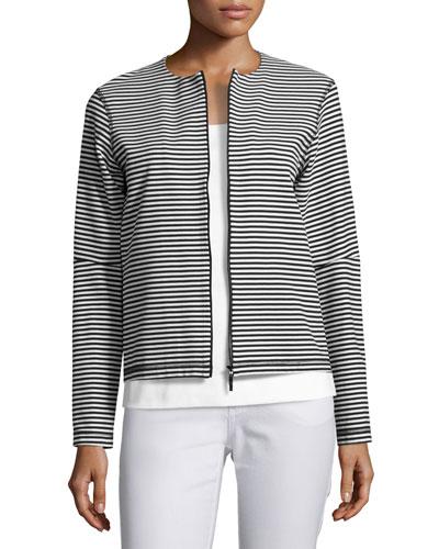 Vivienne Striped Zip-Front Jersey Jacket, Black/White
