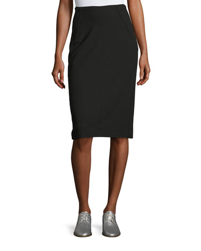 Phoebe Back-Zip Pencil Skirt, Black