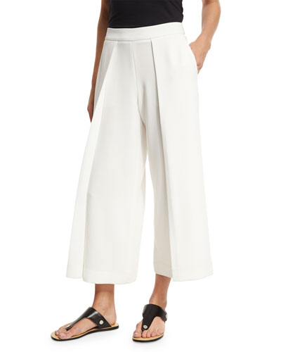Rowe Wide-Leg Culotte Trousers, White