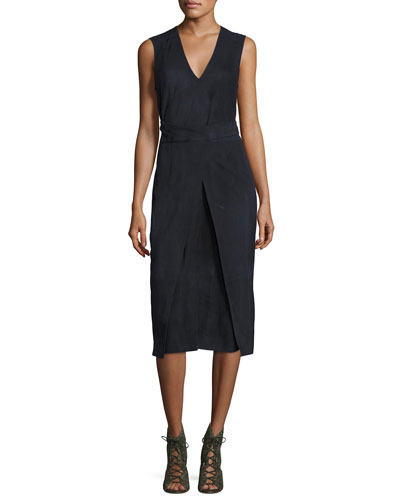Suede Semi-Wrap Midi Dress, Navy