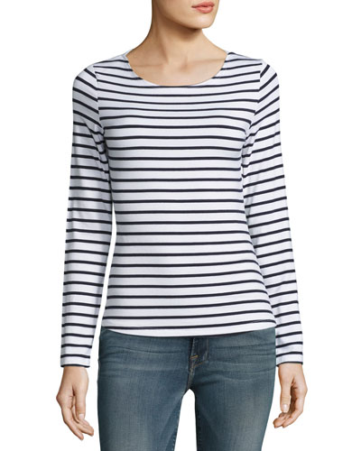 Nautical Stripe Boat-Neck Long-Sleeve Top, Navy/Blanc
