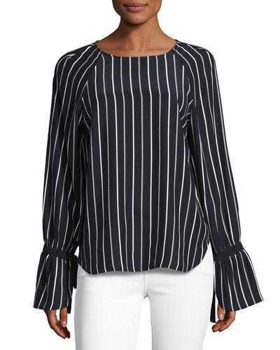Voluminous Cuff Silk Blouse, Navy & Blanc Pristine Stripe