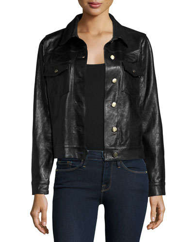 Leather Crop Jacket, Black