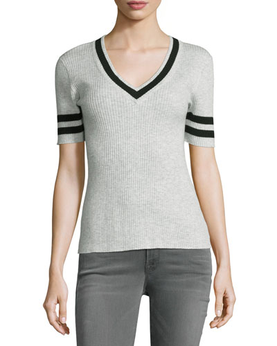 Ribbed V-Neck Sweater w/Stripes, Gris/Noir