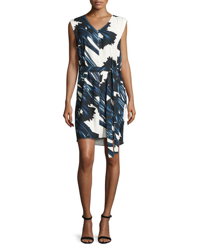 Sleeveless Self-Tie Floral-Print Dress w/ Draped Back, Ink Crocus