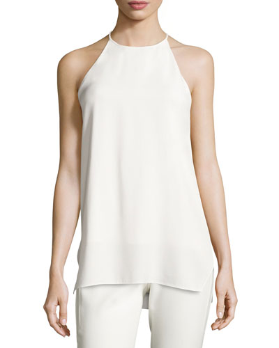 High-Neck Racerback Camisole Tunic, Chalk