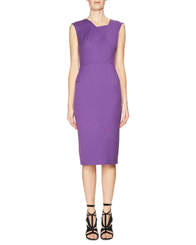 Sleeveless Asymmetric High-Neck Dress, Lilac