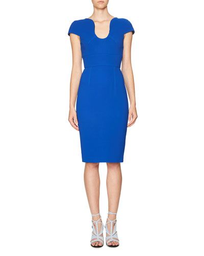 Scoop-Neck Cap-Sleeve Sheath Dress, French Navy