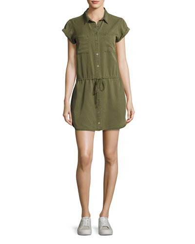 Mila Twill Short-Sleeve Shirtdress, Desert Olive