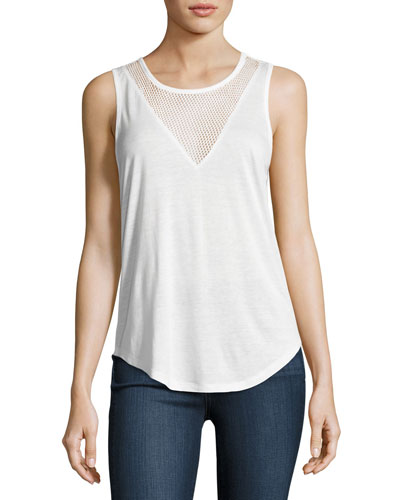 Briley Mesh-V Tank Top, White