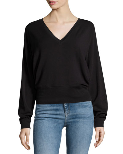 Cozy V-Neck Pullover Sweater, Black
