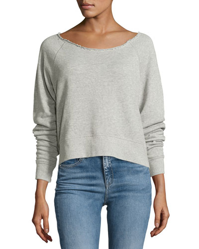 Raw-Neck Sweatshirt, Heather Gray