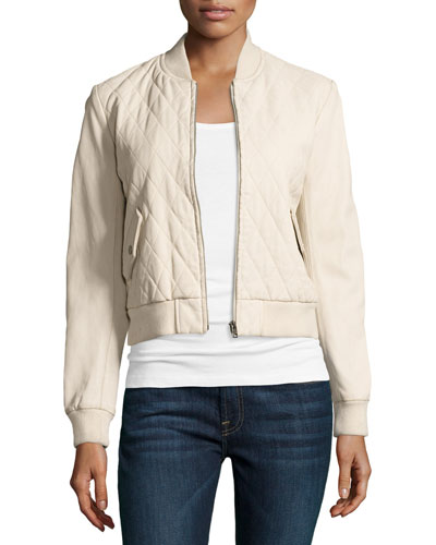 Quilted Leather Bomber Jacket, Ecru