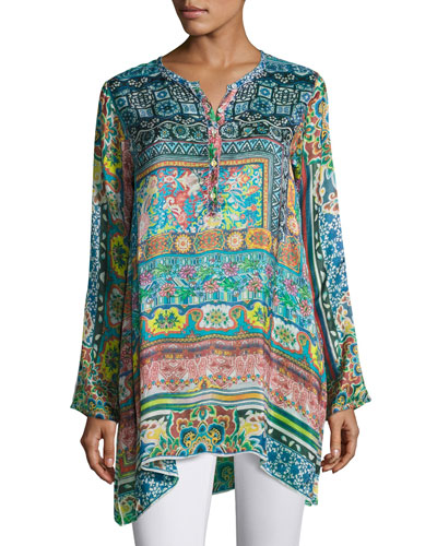 Frame Printed Silk Georgette Tunic, Multi