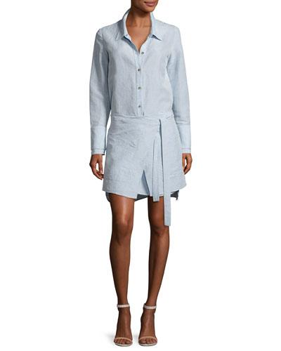 Long-Sleeve Shirtdress w/ Wrap Skirt, Chambray