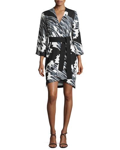 3/4-Sleeve Floral-Print Kimono Dress, Black Crocus