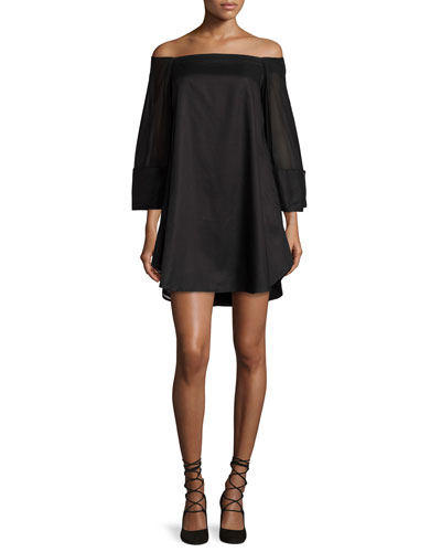 Off-the-Shoulder Trapeze Dress, Black