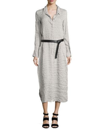 Long-Sleeve Maxi Pinstripe Shirtdress, Gray