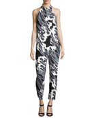 Tie-Neck Draped-Front Floral-Print Jumpsuit, Black Crocus
