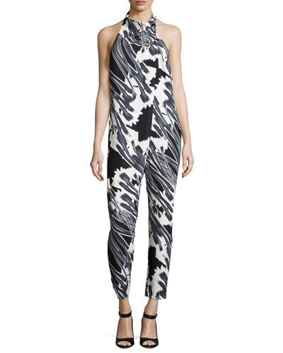 Tie-Neck Draped-Front Floral-Print Jumpsuit, Black Crocus