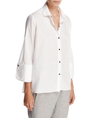 Wide 3/4-Sleeve Oversized Button-Down Shirt, Chalk