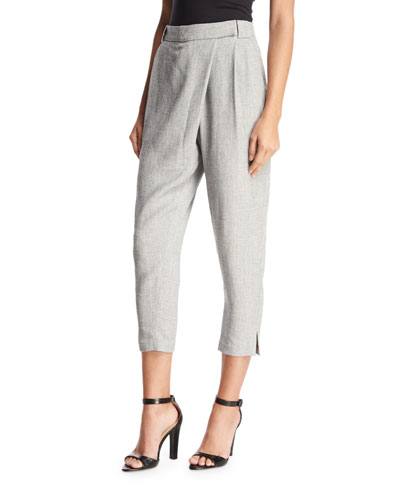 Wrap-Front Tapered Ankle Pants, Gray