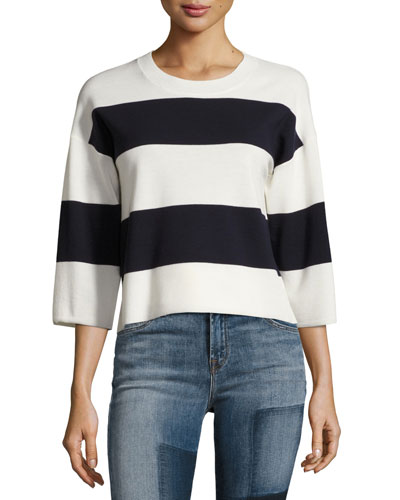 Estero Striped Merino Wool 3/4-Sleeve Sweater, Cream/Black Iris