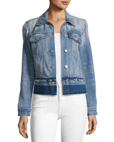 Harlow Denim Jacket with Released Hem, Arcane Wash