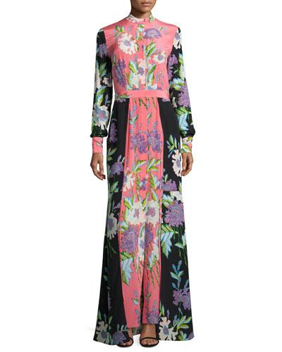 Floral-Print Slit-Front Silk Maxi Dress, Multicolor
