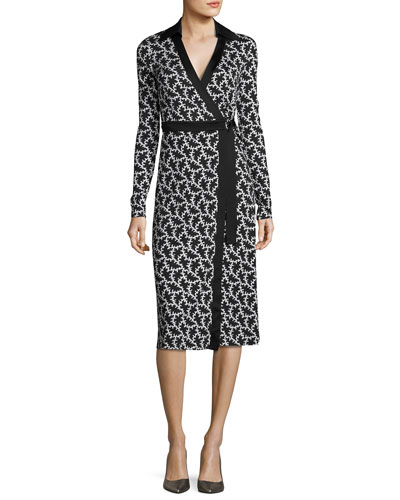 Printed D-Ring Belted Silk Wrap Dress, Black