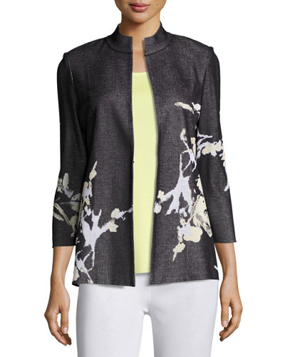Floral-Print Knit Jacket, Plus Size