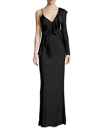 Satin Asymmetric Ruffle Gown, Black