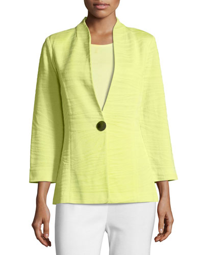 Textured One-Button Jacket, Daiquiri Green