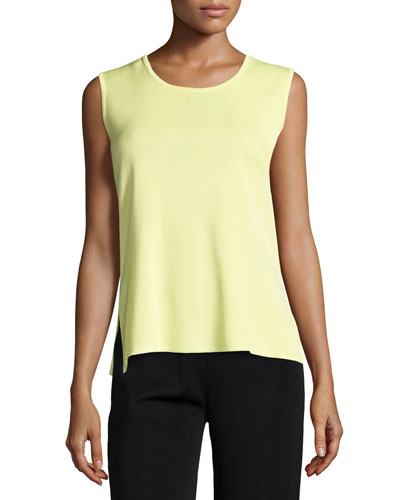 Scoop-Neck Knit Tank, Daiquiri Green, Petite