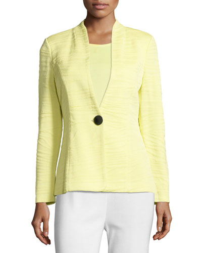 Textured One-Button Jacket, Daiquiri Green, Plus Size