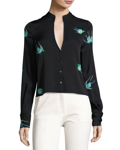 Cropped Bird-Print Silk Jersey V-Neck Shirt, Black