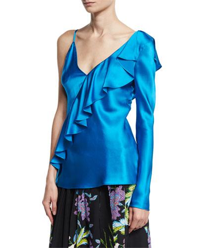 Satin Asymmetric Ruffle Blouse, Turquoise